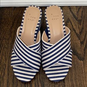 A New Day Striped Block Heel Sandals -5.5